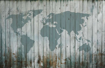 world map on old wooden wall