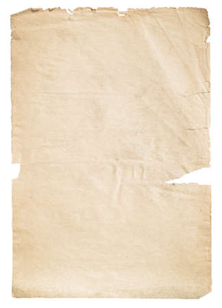 old paper isolated on white background with clipping path Imagens