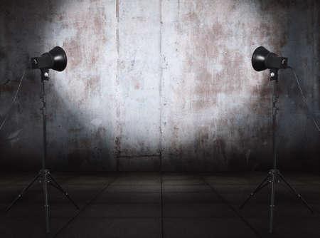 photo studio in old grunge room with metallic wall, urban background Фото со стока