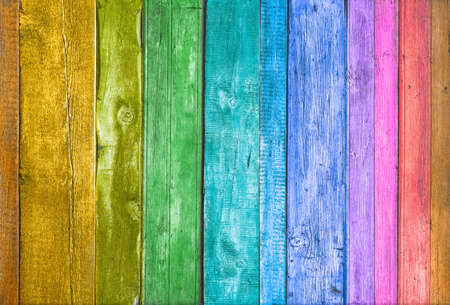 ?olorful wooden background texture. Multicolored planks wall.