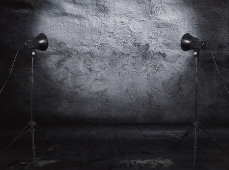 photo studio in old grunge room with concrete wall, urban background 免版税图像 - 120606510