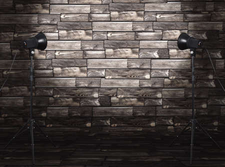 photo studio in old room with wooden wall