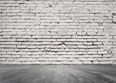 old room with brick wall, vintage background Foto de archivo
