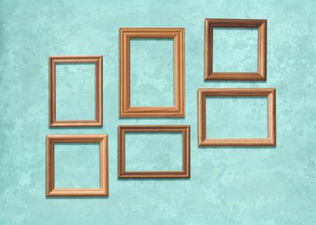 old wooden frames on blue wall Фото со стока - 129820995