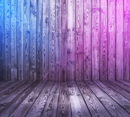 wooden interior background with neon lights
