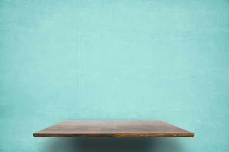 empty shelf on blue wooden wall Zdjęcie Seryjne - 129845007