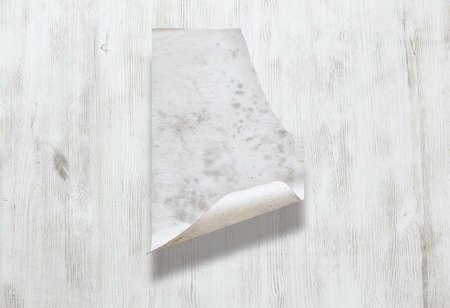 old paper on white wooden background Zdjęcie Seryjne