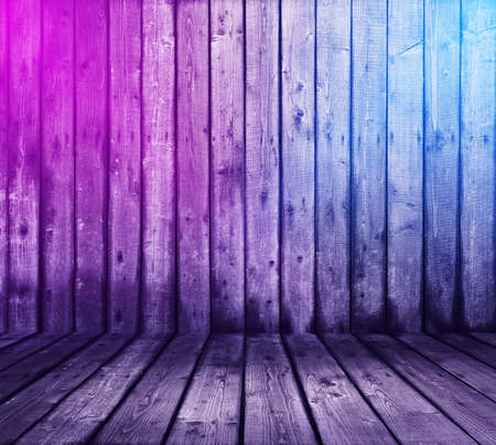 wooden interior background with neon lights Zdjęcie Seryjne - 129845253