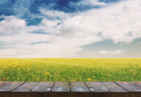 wooden table with field landscape, background
