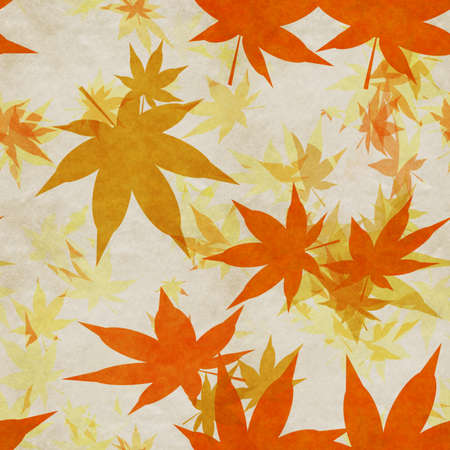 Autumn leaves, seamless background pattern on old paper.