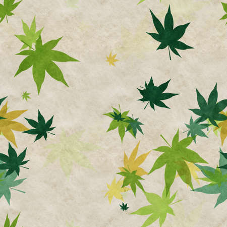 Autumn leaves, seamless background pattern on old paper. Фото со стока - 132752362