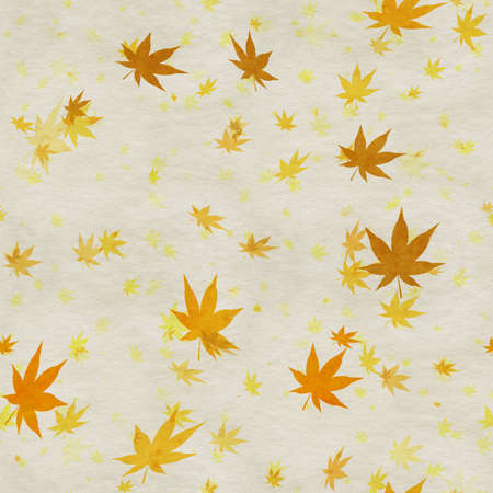 Autumn leaves, seamless background pattern on old paper. Фото со стока - 132752368