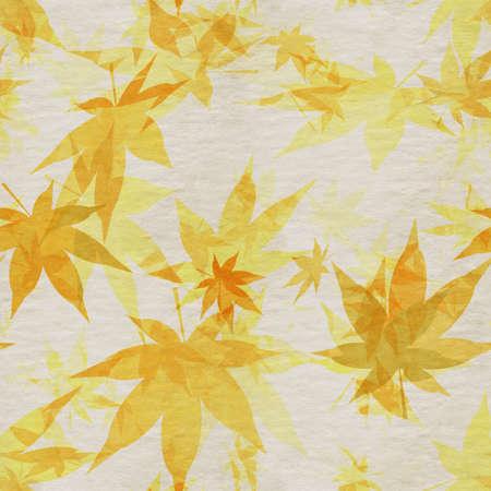 Autumn leaves, seamless background pattern on old paper. Фото со стока - 132752419