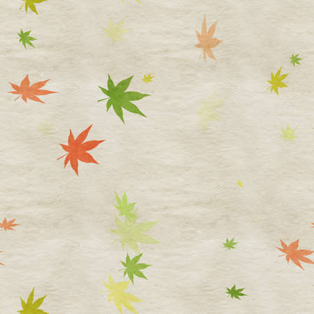 Autumn leaves, seamless background pattern on old paper. Фото со стока - 132752422