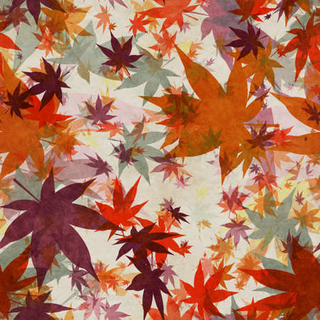 Autumn leaves, seamless background pattern on old paper. Фото со стока - 132752438