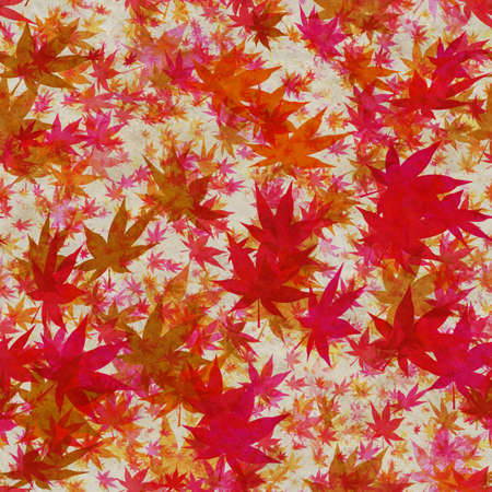Autumn leaves, seamless background pattern on old paper. Фото со стока - 132752443