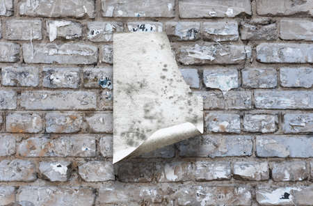 old paper on brick wall Фото со стока - 132752441