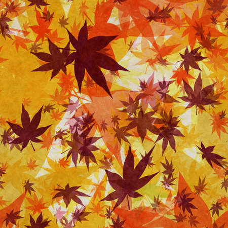 Autumn leaves, seamless background pattern on old paper. Фото со стока - 132752456