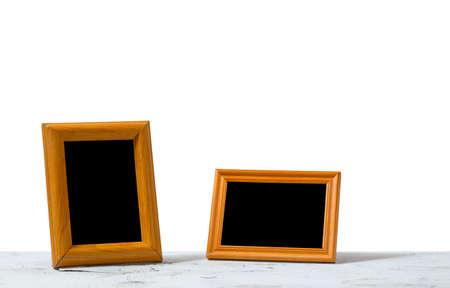 photo frames on table, white background Фото со стока - 132752496