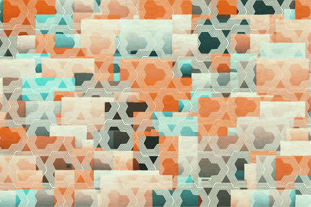 retro vintage abstract patchwork background  on grungy paper Фото со стока