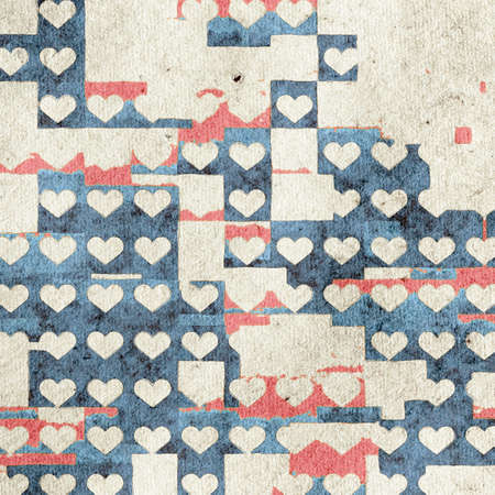 retro vintage abstract patchwork background  on grungy paper Stock Photo - 141744603