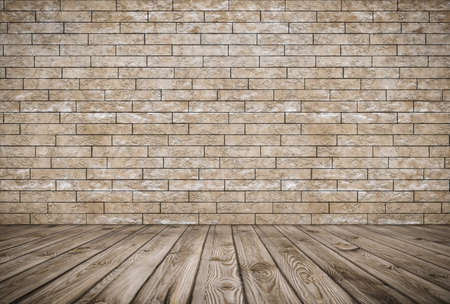 old room with brick wall, vintage background