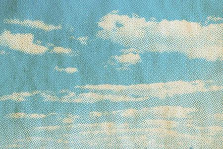 retro sky pattern on old paper texture. vintage clouds. Zdjęcie Seryjne - 157855726