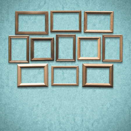 old wooden frames on old blue wall