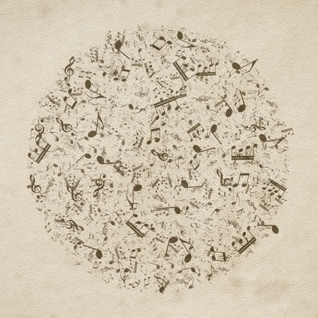 Grunge musical background. Old paper texture, music notes.