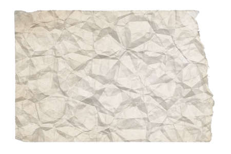 old blank crumpled paper with copyspace isolated on white background