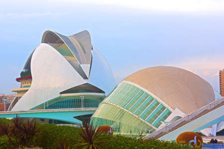 hemispheric: VALENCIA � NOVEMBER 17: The Queen Sofia Palace of Arts and Hemispheric on November 17, 2012 in Valencia, Spain. Hemispheric was built in 1998 as the first building of The City of Arts and Sciences.