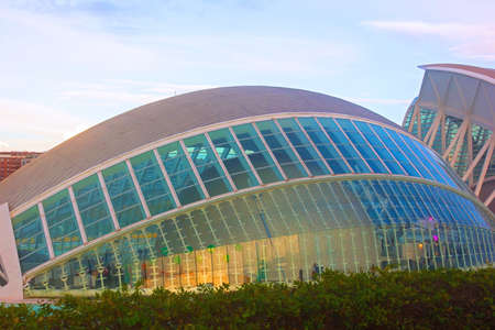 hemispheric: VALENCIA � NOVEMBER 17: The Hemispheric in twilight on November 17, 2012 in Valencia, Spain. The Hemispheric was the first building of The City of Arts and Sciences completed in 1998 and is known as the �eye of knowledge�.