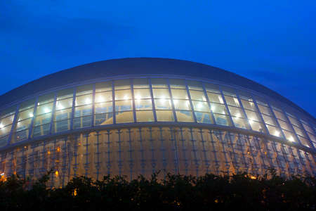 hemispheric: VALENCIA � NOVEMBER 17: The Hemispheric in the City of Arts and Sciences illuminated at night on November 17, 2012 in Valencia, Spain. It is known as the �Planetarium� and the �Eye of Knowledge�.