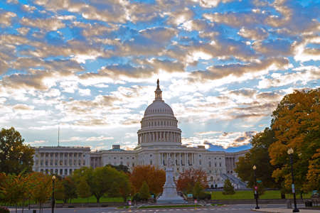 Autumn colors at dawn around US Capitol building in Washington DC