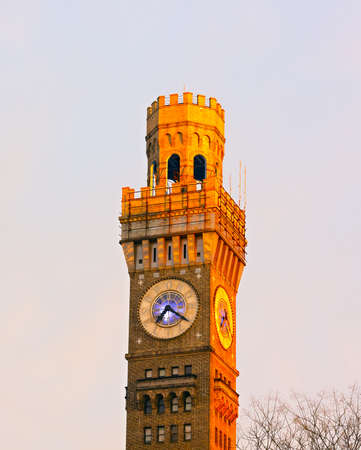 seltzer: Emerson Bromo-Seltzer Tower in Baltimore downtown  Sun rays lit the top of the historic clock tower in Baltimore  Stock Photo