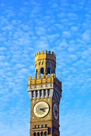 seltzer: Emerson Bromo-Seltzer Tower under cloudy blue sky  Historic clock tower in Baltimore downtown