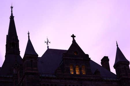Georgetown University silhouette after sunset  Catholic University buildings  photo