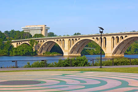 View on Key Bridge from Georgetown Park  Georgetown Park located near Potomac River in Washington DC  photo