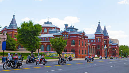 Washington DC, USA - May25, 2014: Motorcycles travel down Independence Avenue as part of the annual Rolling Thunder motorcycle ride for American POWs and MIA soldiers on May 25, 2014 in Washington DC, USA. Rolling Thunder parade along Independence Ave. in