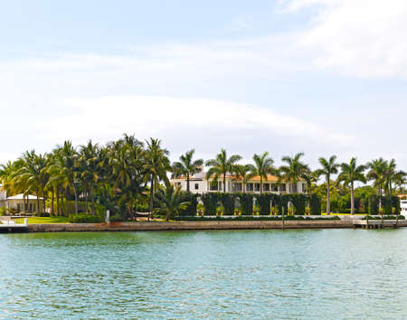 Palm trees decorate the how lawn  Waterfront suburb with palm trees of Miami, Florida photo