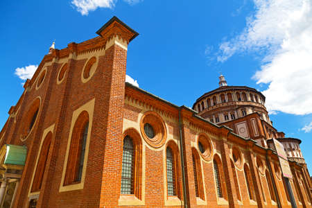 "the last: Church of Santa Maria delle Grazie in Milan, Italy  This church is famous for hosting Leonardo da Vinci's masterpiece ""The Last Supper""  Stock Photo"