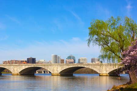 rosslyn: Arlington Memorial Bridge, Washington DC, USA  A view on Rosslyn from Potomac River bank in Washington DC
