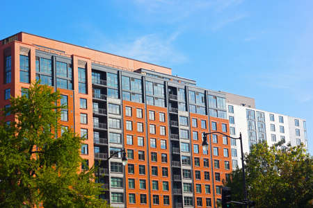 outside outdoor outdoors exterior: Modern architecture of Washington DC, USA. Street view of newly built office buildings.