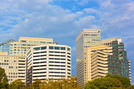 Office buildings in Arlington, Virginia. Sunny autumn morning in the city.