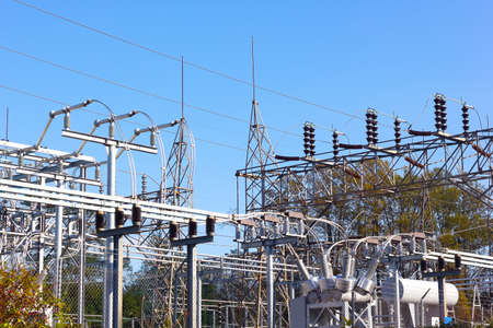 isolator switch: Power substation in autumn. High-voltage equipment at power substation.