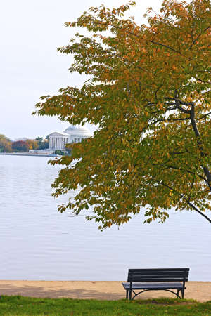 jefferson: Tidal Basin and Thomas Jefferson Memorial at the morning, Washington DC. Quiet morning near waters of Tidal Basin in fall.