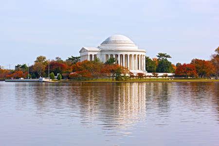 jefferson: Thomas Jefferson Memorial in autumn, Washington DC. Tidal Basin and Thomas Jefferson Memorial in fall. Editorial