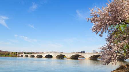 rosslyn: Arlington Memorial Bridge during cherry blossom festival in Washington DC. The bridge over Potomac River in the US capital. Stock Photo