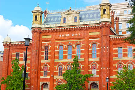 National Landmark - Franklin School Building in Washington DC, USA. The building was designed by Smithsonian architect Adolf Cluss in 1869. Editoriali