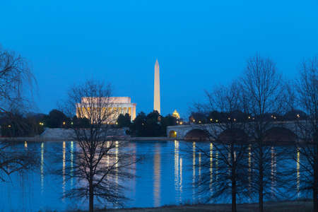us capitol: Lincoln Memorial, National Monument and US Capitol Buildings after sunset. Washington DC landmarks and Potomac River.